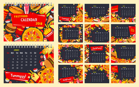 Fast food calendar with fastfood restaurant burger snack and drink. Monthly calendar template with hamburger, pizza and fries, hot dog, soda and donut, ice cream and cake frame border