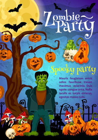 Zombie party invitation banner for Halloween holiday celebration. Creepy cemetery with horror tree, pumpkin lantern and zombie monster, skeleton skull, full moon and flying bat festive poster design