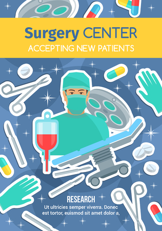Surgery center or medical clinic poster of surgeon doctor and treatment items. Vector medicine for for cardiology, orthopedics or traumatology surgery and operation, scalpel and syringe Illustration