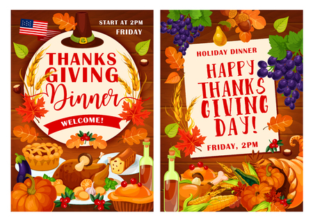 Thanksgiving Day invitation posters for traditional autumn holiday festival or dinner. Vector design of American flag, turkey, pumpkin with fruits harvest in cornucopia and autumn maple leaf