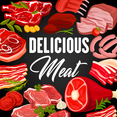 Meat products market or butcher shop poster with frame of beef raw filet and steak, pork bacon and tenderloin or chop, mutton ribs, beefsteak and t-bone sirloin, meaty cutlet and greenery vector Çizim