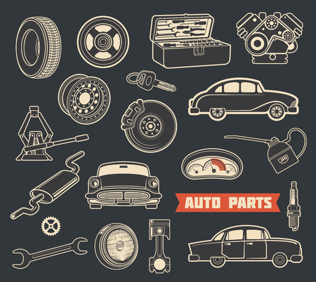 Auto parts and spare detail retro icons of car service. Vehicle engine, motor oil and wheel, automobile brake, battery and piston, tire, spark plug and steering wheel, speedometer, wrench and key