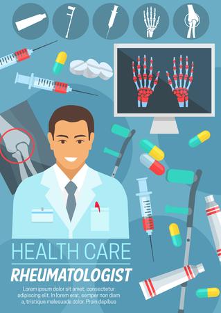 Reumatoloog arts poster van reumatologie medische kliniek of ziekenhuis. Arts met bot- en gewrichtsdiagnostische röntgenfoto, reuma behandeling medicijn en krukken pictogram voor geneeskunde en gezondheidszorg ontwerp