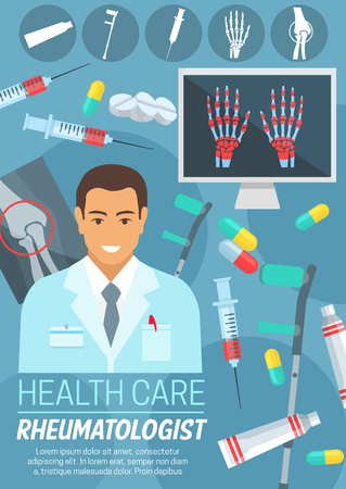 Rheumatologist doctor poster of rheumatology medical clinic or hospital. Physician with bone and joint diagnostic x-ray, rheumatism treatment drug and crutches icon for medicine and health care design