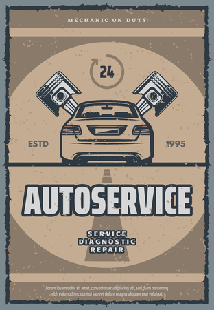 Automobile repair shop vintage poster for car service, diagnostics and repair. Retro motor vehicle service or tune up old scratched banner with car and piston for mechanic workshop and garage design