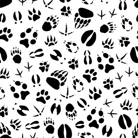 動物は野生の哺乳類と鳥の足跡のシームレスなパターンの背景を追跡します。クマ、犬とオオカミ、トラ、鹿と豚、アヒル、雄牛と鶏の足と狩猟ス