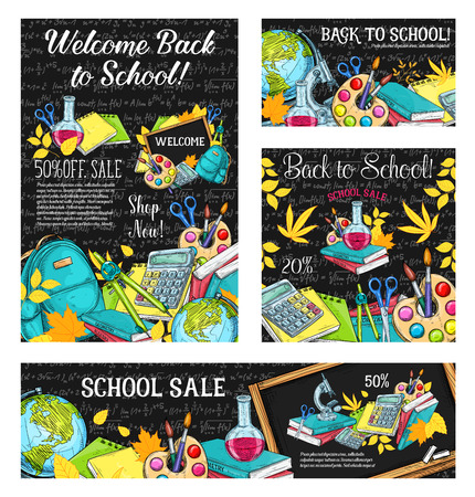 Back to school sale banner template set with school supplies on blackboard. Student book, pencil and pen, paint, calculator and globe sketch poster for discount card or special offer flyer design