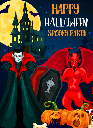 Halloween night spooky party invitation card of autumn holiday celebration. Evil demon and vampire monster festive banner with pumpkin lantern, horror castle and bat, full moon and sky on background