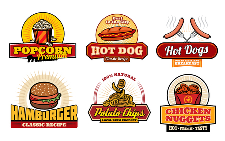 Fast food restaurant and cafe labels with lunch snack. Hamburger, hot dog and french fries, chicken nuggets, popcorn and potato chips retro badges for takeaway food packaging and fastfood menu design