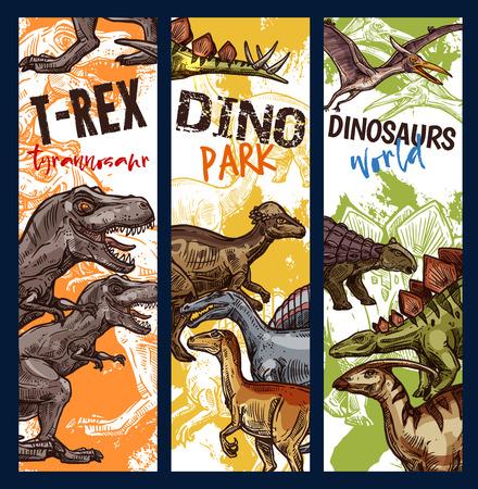 Banner di parco avventura di dinosauri con animali giurassici. Dino monster sketch di tyrannosaurus rex, stegosaurus and pterodactyl, velociraptor, diplodocus and triceratops prehistoric predator flyer design