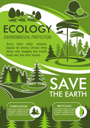 Ecology and environment protection banner for Save the Earth design. Recycling, purification and nature conservation eco technology poster with green tree landscape for ecology sustainable development 向量圖像