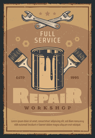 Repair workshop with work tool retro poster for car service and mechanic garage design. Wrench, paint and brush, adorned by spanner and screw for vintage advertising banner of motor vehicle service
