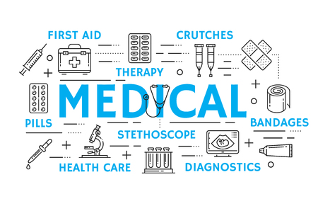 Medicine and health care banner with medical treatment, diagnostics and therapy thin line icon. Thermometer, pill and syringe, stethoscope, test tube and microscope, first aid kit and crutches symbol Illustration