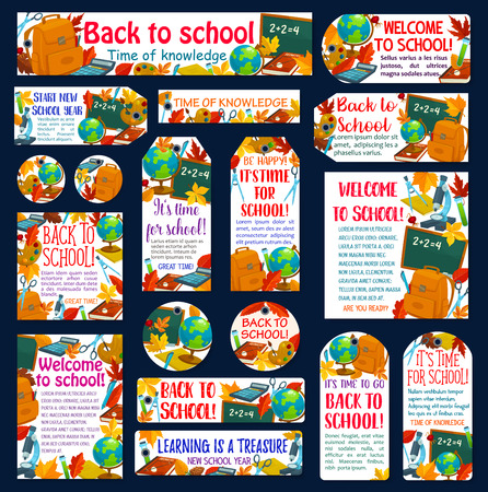 Back to School poster, banner and tag label for September autumn education season. Vector set of school bag, literature lesson book or paint brush and chemistry vial, notebook or ruler and maple leaf