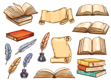 Vecchio libro e pergamena con penna piuma vintage e set di schizzi a inchiostro. Pila di libro retrò e pergamena antica con pagina vuota, penna d'oca colorata e icona del calamaio per la progettazione di temi di istruzione e letteratura Vettoriali