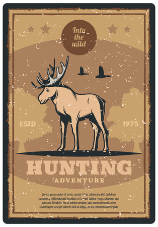 Hunting adventure retro grunge poster for hunter sport club promotion. Wild deer, elk or moose animal vintage banner with forest tree and star for hunting open season or hunter camp design Ilustração