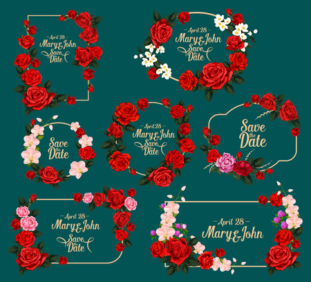 Wedding card floral frame for invitation, save the date and greeting postcard. Flower bouquet of red and pink rose, orchid, jasmine and clover, green leaf and branch for wedding celebration design Foto de archivo - 112004465