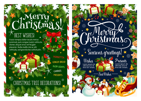 Christmas and New Year holiday gift greeting poster. Santa sleigh with present, snowman and Xmas wreath festive banner, framed by holly and pine tree, bell, ball and star, snowflake, candy and cookie