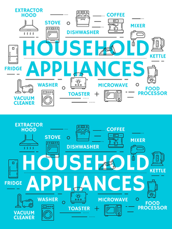 Home appliances thin line banner with household equipment and kitchenware icon. Coffee machine, refrigerator and microwave, stove, toaster and vacuum cleaner, mixer, kettle and dishwasher symbol