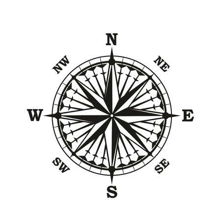 Nautical navigation compass or seafarer Rose of Winds. Vector marine and sailing cartography navigator sextant with direction arrows to North, South, East and West