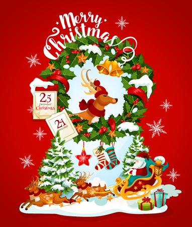 Christmas holiday banner with Santa Claus and reindeer. Xmas tree, gift and Santa reindeer sleigh greeting card with holly berry wreath, bell and ribbon bow, star, snowflake, calendar and sock Illustration