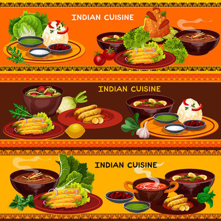 Indian cuisine restaurant menu banner with thali dish. Rice with green chutney, yogurt and chili sauce, curry and vegetable soup, pork rice, spinach chicken stew, fried pepper and banana fruit dessert Foto de archivo - 112004474