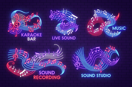 Music neon light sign of musical note for sound studio, live jazz concert and karaoke bar signboard design. Bright shining note, treble clef and stave symbol design on dark brick wall background