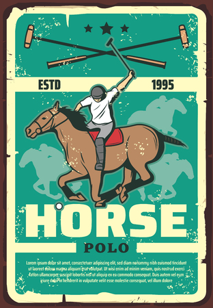 Horse race or polo game retro poster with rider and animal in saddle. Mustang running to win vector design for sport club, vintage competition announcement with sportsman with stick riding back Stock Vector - 112004478