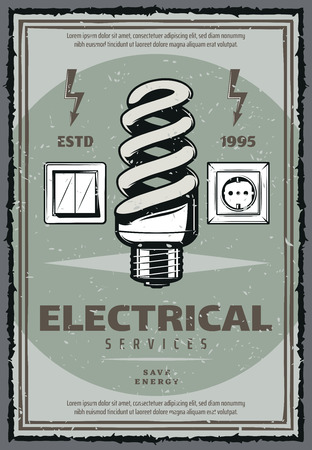 Electrical work retro poster of power system installation and maintenance. Energy saving light bulb with switch, socket and electricity warning symbol grunge banner of electrician service promo design
