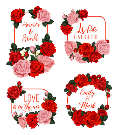 Wedding card with floral frame of rose flower. Wedding invitation, save the date and engagement party festive banner with red and pink rose flower and bud, flowering garden plant and jasmine branch