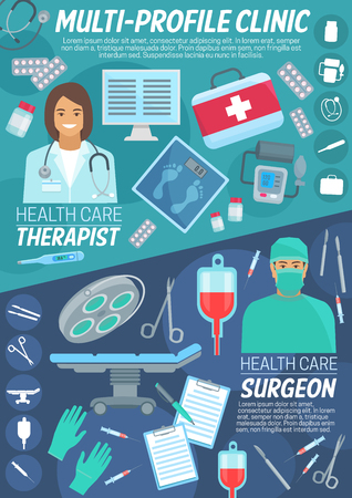 Health care banner of primary care and surgery medical clinic. Physician doctor and surgeon with diagnostic tool and operating instrument, stethoscope, thermometer and blood for hospital poster design
