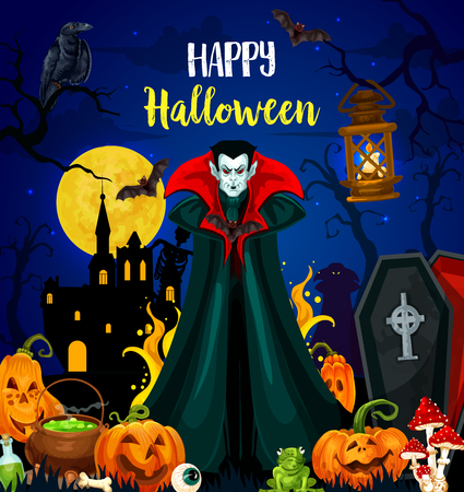 Happy Halloween holiday greeting card with horror night monster. Creepy vampire on cemetery poster with scary pumpkin, bat and skeleton, full moon, castle and witch potion for autumn holiday design