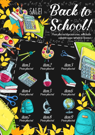 Back to school special offer blackboard banner of education supplies sale promotion template. Book, pencil and scissors, paint, calculator, globe and backpack sketch poster with discount items list Illustration
