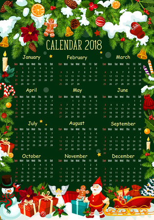 Calendar template with Christmas garland frame and winter holiday gift. Calendar poster of 2018 New Year, decorated by Xmas tree and holly berry, snowflake, bell and candy, snowman, Santa and present Illustration