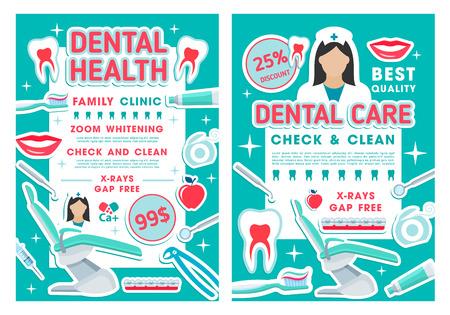 Zahnpflege-Rabatt-Angebotsplakate für Zahnkliniken oder Zahnarztpraxen. Promo-Banner für Kariesbehandlung, Mundhygiene und Zahnaufhellung mit Arztwerkzeugen, Zahnspangen und Zahnseide