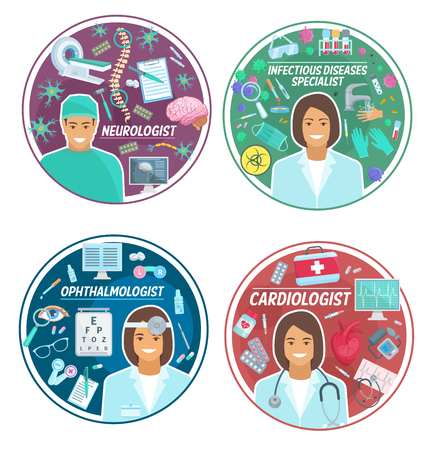Cardiology, neurology or ophthalmology medicine and infectious disease icons. Vector cardiologist, ophthalmologist or neurologist doctor medical items and virus or bacteria treatment pills