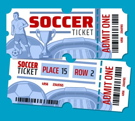 Biglietti per partite di calcio o di calcio. Il design vettoriale di pallone da calcio, giocatore di football sullo stadio dell'arena e coppa della vittoria con stelle e biglietto ammette la linea di taglio