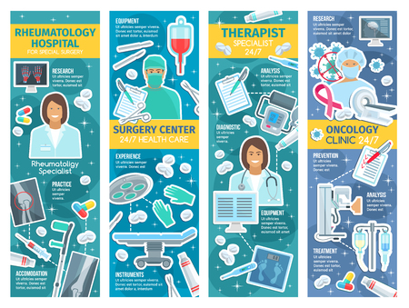 Rheumatology, surgery and oncology medicine banners for clinic therapy. Vector design of rheumatologist, surgeon and oncologist therapist doctors with pills and medicines, scalpel or syringe