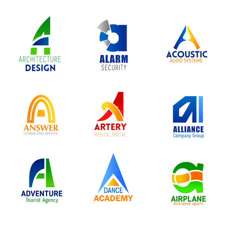 Letter A icons for company corporate identity in architecture design, alarm security and audio system technology. Vector letter A symbols for consulting, medical service or sport and dance academy