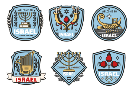 Israel travel icons and traditional Jewish symbols. Vector heraldic set of Judaism religion David star, Torah book or cornucopia horn and boat or musical instrument, Hanukah menorah dog-rose Ilustração
