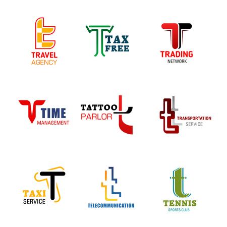 Iconos de la letra T para la identidad corporativa o empresarial de la empresa, agencia de viajes o red comercial y comercial libre de impuestos. Símbolos de la letra T del vector para la gestión empresarial, el salón de tatuajes o el transporte en taxi