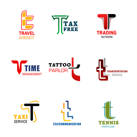 Letter T icons for company corporate or company identity, travel agency or tax free shopping and trade network. Vector letter T symbols for business management, tattoo salon or taxi transportation