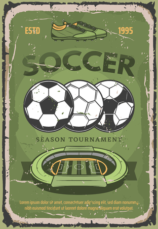 Soccer retro poster for football season tournament or championship. Vector vintage grunge design of soccer arena stadium and football balls with player boots for team league cup Illustration