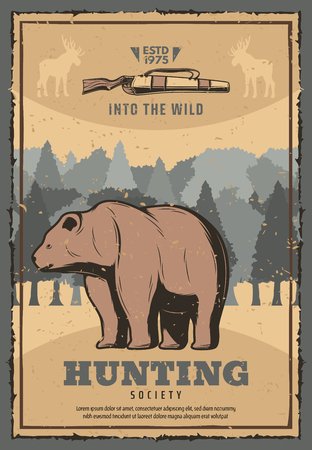 Hunter society vintage poster of wild bear in forest for hunt adventure club. Vector retro grunge design of animal trophy in wilderness with rifle guns or arbalest crossbow for open season
