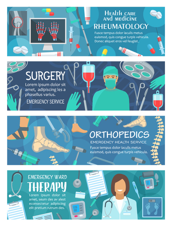 Rheumatology, surgery and orthopedics therapy medical banners. Vector design of rheumatologist, orthopedist and surgeon doctors with pills and medicines, scalpel or syringe and joint bones x-ray Illustration
