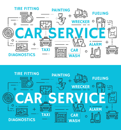 Car service icons for mechanics and repair station or diagnostics poster. Vector thin line instruments and automobile spare parts for car painting and tuning, fueling and wrecker service or car wash