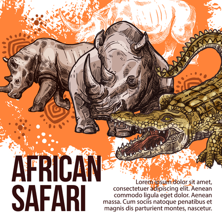 African Safari sketch poster for zoo or hunt adventure. Vector design of wild crocodile and rhinoceros animals for open season or wildlife nature park and hunter club Illustration