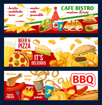 Fast food banners for fastfood cafe, restaurant or bistro menu design. Vector cheeseburger, hot dog sandwich and chicken nuggets with fries, Mexican burrito and barbecue meat with soda and coffee