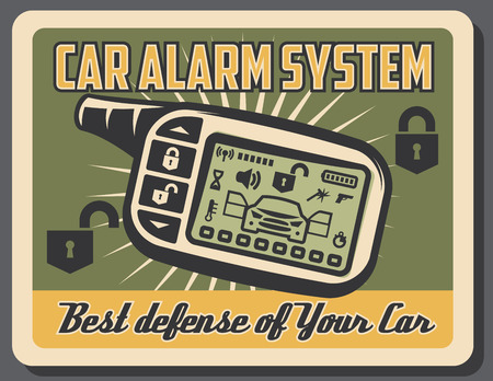 Car alarm system retro poster for auto security and defense control. Vector vintage grunge design of car digital lock key control for transport service and diagnostic station
