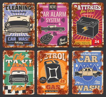 Car and auto service cards or retro posters with rust effect. Vector vintage rusty design for car wash or mechanic repair and petrol station, garage tire fitting, taxi and spare parts store Illustration